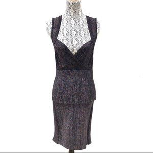 H&M Glitter Bodycon Dress Black/Rainbow Size M